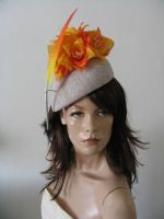 Orange Golden Yellow Silver Beret Fascinator Hatinator Ascot Kentucky Derby Headpiece. Orange Royal Ascot Hat. Orange Hat for the Kentucky Derby. Floral Mother of the Bride Hats.